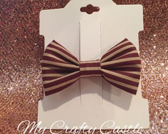 Rustic red and tan striped hair bow clip