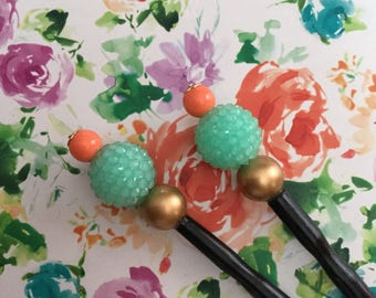 Coral Mint Gold Chic Pastel Rustic Hair Stick
