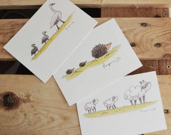 "Set of 3 cards ""Animal families"" - postcards MOM and small animals - swans, sheep and hedgehogs - Illustration watercolor A6 cards"