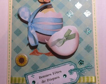 Easter duck out of his egg 3D card