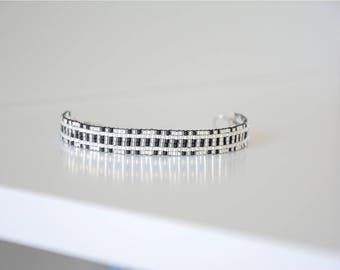Miyuki Delica black and silver woven bracelet