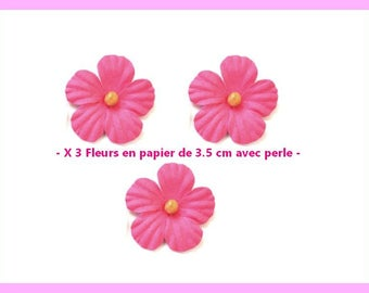 X 3 pretty flowers in foil neighborhood 3.5 cm - pink - new