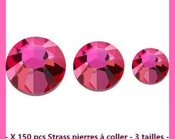 Strass stones stick - 3 sizes - pink - 150 pcs-new
