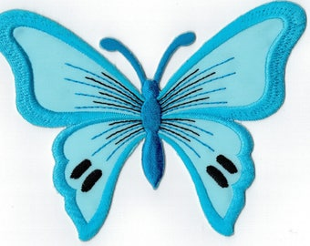 Blue butterfly embroidered iron or sew patch. Applique Patch 13 x 9.5 cm