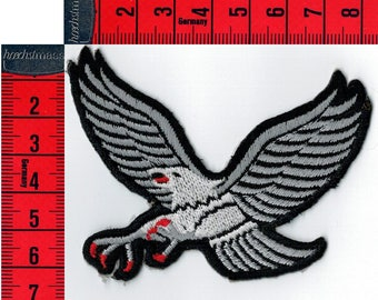 Iron or sew gray Eagle shield embroidered 8.5 X 6.5 cm Patch Applique