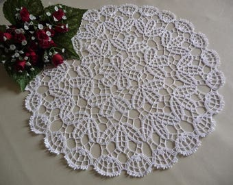 Crochet doily handmade white fine cotton.