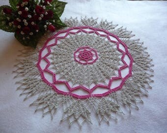 Handmade lace doily cotton linen and Fuchsia.