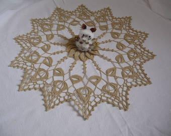 Handmade lace doily beige Mercerized cotton