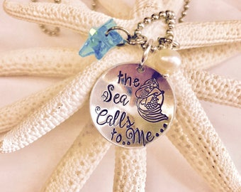 Hand stamped Mermaid necklace • Sea life • Starfish • ocean • beach • sea shells • Salt Life • beach life • The sea calls to me