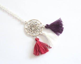 Dreamcatcher and white plum tassels trio charm necklace