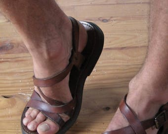 Sandals men 48 - 49 all terrain and adjustable in vegetable tanned leather