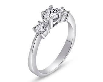 3 Diamonds Engagement Ring,Made of 14K - 18K Gold