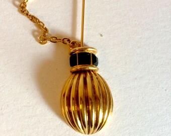 LANVIN fibula, brooch gold and black rhinestones