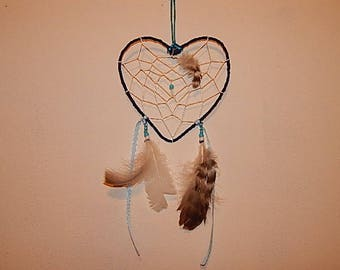 Catch dreams Dreamcatcher blue and white heart beads, feathers and Ribbon