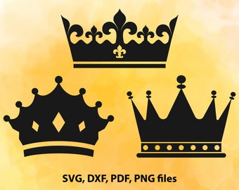 Crown SVG file, Crown clipart, Queen crown, King crown, Cut files for Silhouette, Svg files for Cricut, dxf png pdf svg, clip art, vector