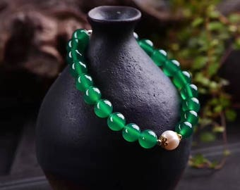 Natural green agate + natural freshwater pearl 8mm necklace + bracelet