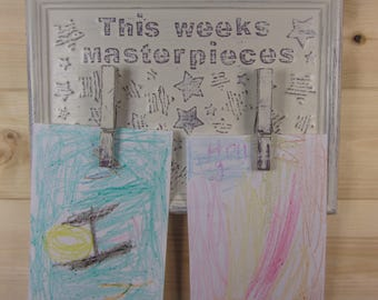 this weeks masterpieces childs art display plaque