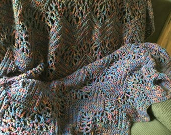 Multi colored chevron afghan