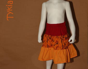Skirt 3 yellow gold and Red ruffle - 4 years