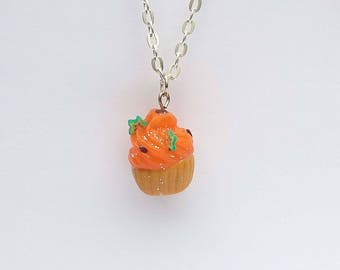 Polymer clay cupcake charm necklace