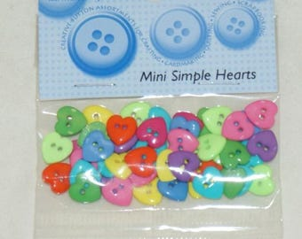 Assortment of 30 novelty buttons - small hearts