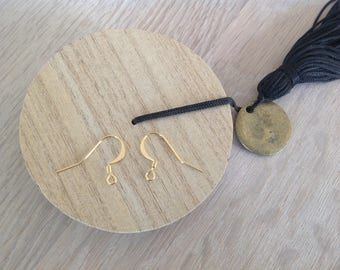 1 pair of earring hook gold plated 18x10mm