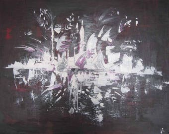 Plum and white abstract city painting