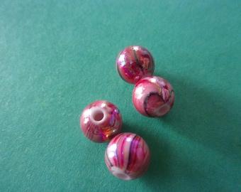Round Zebra pink black and white, dark, acrylic bead - 8mm