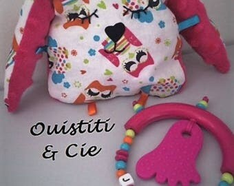 "Ring teether + custom monkey pattern OWL ""Jade"""