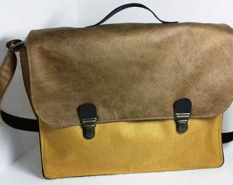 Great faux distressed leather Briefcase and mustard yellow woven