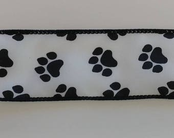 "FREE SHIPPING- 1.5"" Wired Black and White Paw Print Ribbon - 5 Yards"