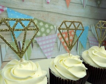 Diamond themed Cupcake Birthday, Celebration Toppers