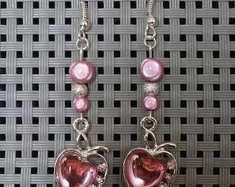 """Pink Apple"" earrings 5 cm"