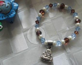 "Blue /topaze extensble ""Buddha"" charm bracelet"