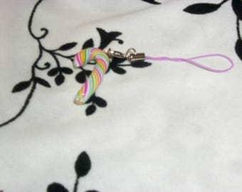 phone charm / strap candy multicolor Fimo