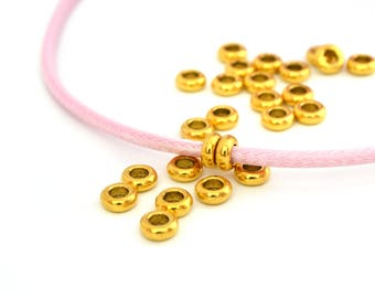 10 washers beads gilded with large holes in metal 7x3mm