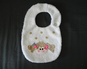 White Terry cloth bib, applied girl