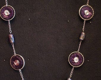 Purple necklace made of recycled aluminum and glass beads caps