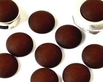 Cabochon resin - Matte color - (12mm) circular - Brown