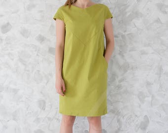 Comfortable Jeans Cotton  Dress with Pockets in Light Green Colour.