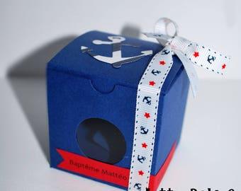 Box has cube marine theme favors