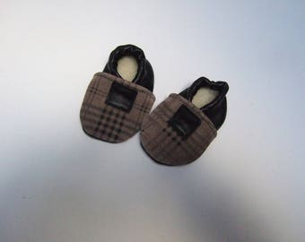 Baby Slippers Leather Brown and black