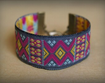 Fuchsia Aztec Cuff Bracelet
