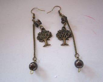 tree charm and Swarovski Brown Pearl Earrings