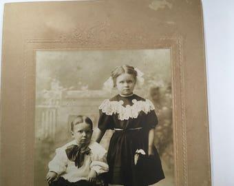 "Antique photograph 6"" x 9"" young children, White Studio, Muncie, Indiana"