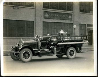Stutz Fire Engine Co. Black n white photograph, Bloomington, IN Fire Dept 8x10