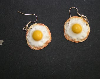 polymer clay fried egg earrings