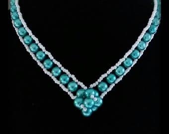 Necklace beads turquoise blue renaissance