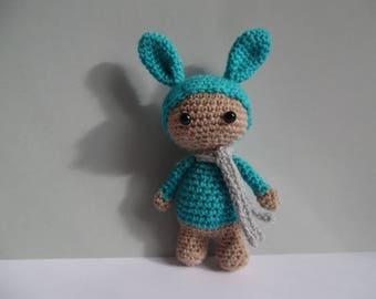 Little plush amigurumi snowman rabbit 14cm hook