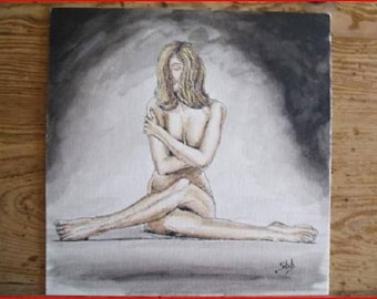 (naked) ' modesty' India ink on white embossed cardstock.